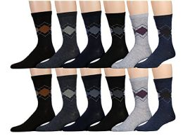 12 Units of Mens Cotton Blend Dress Socks, Stylish Patterns - Mens Dress Sock