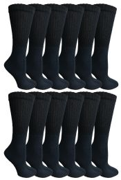 12 Units of Yacht & Smith Women's Premium Cotton Crew Socks Black Size 9-11 - Womens Crew Sock