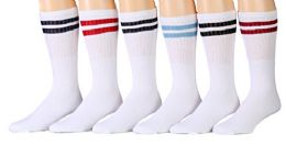 6 Units of Yacht & Smith Women's Cotton Striped Tube Socks, Referee Style Size 9-15 22 Inch - Womens Crew Sock