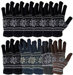 12 Pairs Of excell Wool Gloves - Mens Womens, Stretchy One Size (Assorted Snowflakes) - Magic Acrylic Gloves