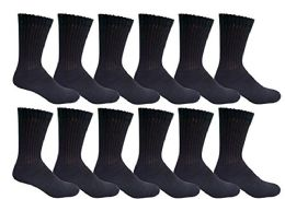 6 Units of Yacht & Smith Men's Loose Fit NoN-Binding Soft Cotton Diabetic Crew Socks Size 10-13 Black - Men's Diabetic Socks