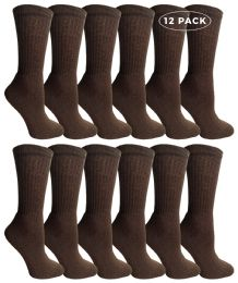 12 Units of Yacht & Smith Women's Sports Crew Socks Size 9-11 Brown - Womens Crew Sock