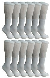 12 Units of Yacht & Smith Women's Premium Cotton Crew Socks White Size 9-11 - Womens Crew Sock