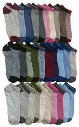30 Units of Yacht & Smith Womens 9-11 No Show Ankle Socks Assorted Prints, Pastels - Womens Ankle Sock