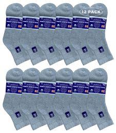 12 Units of Yacht & Smith Women's Diabetic Cotton Ankle Socks Soft NoN-Binding Comfort Socks Size 9-11 Gray - Women's Diabetic Socks
