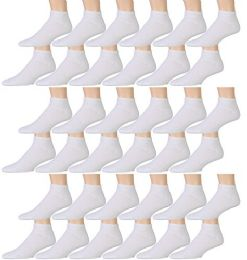 36 Units of Yacht & Smith Kids Cotton Quarter Ankle Socks In White Size 4-6 - Girls Ankle Sock