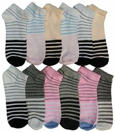 12 Units of Women's Cotton No Show Ankle Socks, , Assorted Colorful Patterns - Womens Ankle Sock