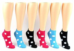 24 Pairs Pack of WSD Women's Low Cut Novelty Socks, Value Pack, Athletic Socks (Dot Print, 9-11) - Womens Ankle Sock