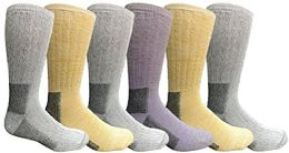 6 Pairs Merino Wool Socks for Men, Hunting Hiking Backpacking Thermal Sock by WSD (Gray/Yellow/Purple Assorted)
