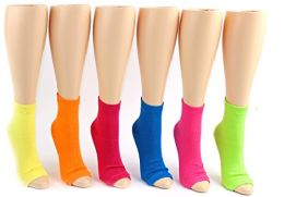 24 Pairs Pack of WSD Women's Pedicure Socks, Value Pack, Open Toe Socks (Solid Colors, 9-11) - Womens Ankle Sock