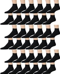 36 Units of Yacht & Smith Kids Cotton Quarter Ankle Socks In Black Size 4-6 - Girls Ankle Sock