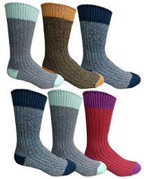 6 Pairs Of excell Mens Premium Winter Wool Socks With Cable Knit Design (Assorted D) - Mens Thermal Sock