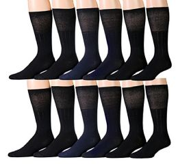 12 Pairs Diabetic Socks for Men, Non-Binding Diabetic Dress Socks Circulatory Crew Socks (Black (Diabetic Dress Socks)) - Mens Crew Socks