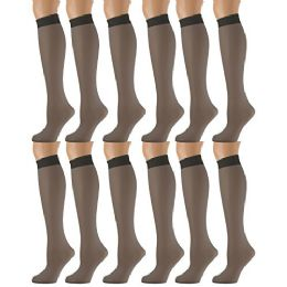 12 Units of Yacht & Smith Trouser Socks For Women, 20 Denier Opaque Knee High Dress Socks - Womens Trouser Sock