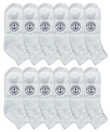 12 Units of Yacht & Smith Men's Cotton Sport Ankle Socks Size 10-13 Solid White - Mens Ankle Sock