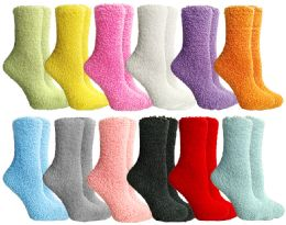12 Units of Yacht & Smith Women's Solid Colored Fuzzy Socks Assorted Colors, Size 9-11 - Womens Crew Sock
