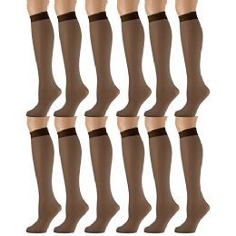 12 Units of Yacht & Smith Trouser Socks For Women, 20 Denier Knee High Dress Socks French Coffee - Womens Trouser Sock