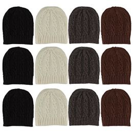 12 Units Of excell Mens Womens Warm Winter Hats In Assorted Colors, Mens Womens  (Cable Knits) - Winter Beanie Hats