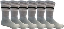 6 Pairs Crew Socks for Men, Cotton Athletic Sports Casual Sock by WSD (Gray w/ Stripes) - Mens Crew Socks