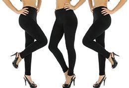 3 Units of 3 Pack Of Womens Leggings Black Heavy Fleece Winter Seamless By Wsd (2 Pairs Black, Small/med) - Womens Leggings
