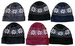 6 Units of Yacht & Smith Unisex Snowflake Fleece Lined Winter Beanie - Winter Beanie Hats