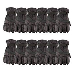 12 Units of Yacht & Smith Mens Winter Warm Waterproof Ski Gloves, One Size Fits All Black - Ski Gloves