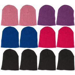12 Pieces Of excell Girls Winter Ribbed Beanie Hat - Winter Beanie Hats