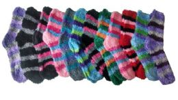 excell Womens Fuzzy Socks Crew Socks, Warm Butter Soft, 12 Pair Pack, Stripes B, 9-11 - Womens Fuzzy Socks