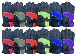 12 Units of Yacht & Smith Kids Thermal Sport Winter Warm Ski Gloves - Kids Winter Gloves