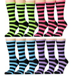 240 Units of Yacht & Smith Ladies Thin Cotton Striped Crew Socks, Size 9-11 - Womens Crew Sock