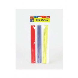72 Units of 3 Pack Sure Grip Rulers - Rulers