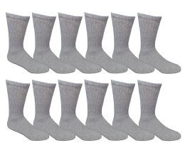 6 Units of Yacht & Smith Men's Loose Fit NoN-Binding Soft Cotton Diabetic Crew Socks Size 10-13 Gray - Men's Diabetic Socks