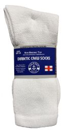 6 Units of Yacht & Smith Men's Loose Fit NoN-Binding Soft Cotton Diabetic Crew Socks Size 10-13 White - Men's Diabetic Socks