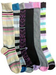 6 Units of 6 Pairs Of Mod And Tone Woman Designer Knee High Socks, Boot Socks (pack b) - Womens Knee Highs