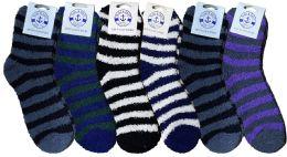 6 Units of Yacht & Smith Men's Warm Cozy Fuzzy Socks, Stripe Pattern Size 10-13 - Men's Fuzzy Socks