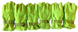6 Pair Of Mens excell Warm Fleece Winter Gloves With Velcro Strap (Yellow) - Womens Fuzzy Socks