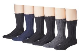 6 Units of 6 Pairs Of Socksnbulk Mens Winter Wool Socks With Cable Knit Design (1503) - Mens Thermal Sock