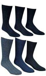 6 Units of 6 Pairs Of Socksnbulk Mens Winter Wool Socks With Cable Knit Design (1506),10-13 Black,grey,blue - Mens Thermal Sock