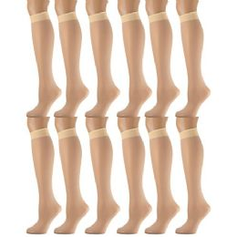12 Units of Yacht & Smith Women's Trouser Socks , 20 Denier Knee High Dress Socks Tan - Womens Trouser Sock
