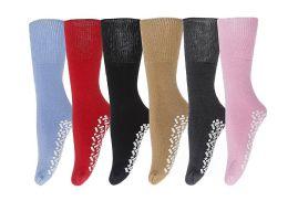 6 Units of Yacht & Smith Women's Thermal Non-Slip Tube Socks, Gripper Bottom Socks - Womens Thermal Socks