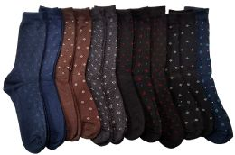 12 Units of Yacht & Smith Mens Casual Cotton Blend Dress Socks With Small Motifs - Mens Dress Sock