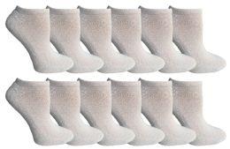 12 Units of SOCKSNBULK Kids Cotton Quarter Ankle Socks In White Size 6-8 - Girls Ankle Sock