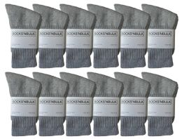 12 Units of Yacht & Smith Kids Premium Cotton Crew Socks Gray Size 6-8 - Boys Crew Sock