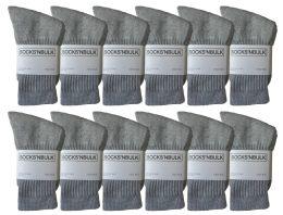 12 Units of Yacht & Smith Kids Premium Cotton Crew Socks Gray Size 6-8 - Boys Crew Sock