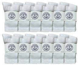 12 Units of Yacht & Smith Kids Premium Cotton Crew Socks White Size 4-6 - Boys Crew Sock
