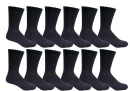 12 Units of Yacht & Smith Kids Cotton Crew Socks Black Size 6-8 - Boys Crew Sock