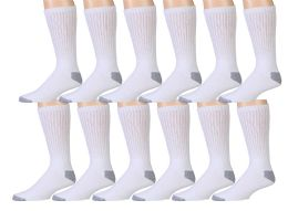 12 Units of 12 Pairs Of Wsd Mens Cotton Crew Socks, Solid, Athletic (white W/ Gray Heel & Toe) - Mens Crew Socks