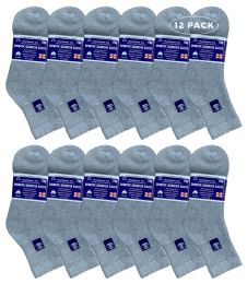 12 Units of Yacht & Smith Women's Diabetic Cotton Ankle Socks Soft Non-Binding Comfort Socks Size 9-11 Gray - Women's Diabetic Socks