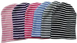 6 Hats excell Women's Fashion Striped Winter Beanie Hats - Winter Beanie Hats