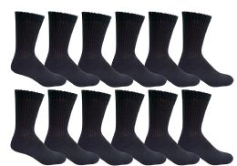 12 Units of Yacht & Smith Kids Premium Cotton Crew Socks Black Size 4-6 - Boys Crew Sock